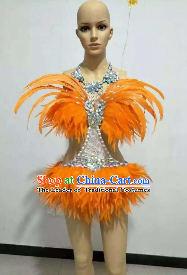 Top Grade Professional Performance Catwalks Swimsuit Costume, Traditional Brazilian Rio Carnival Samba Suits Modern Fancywork Orange Feather Bikini for Women