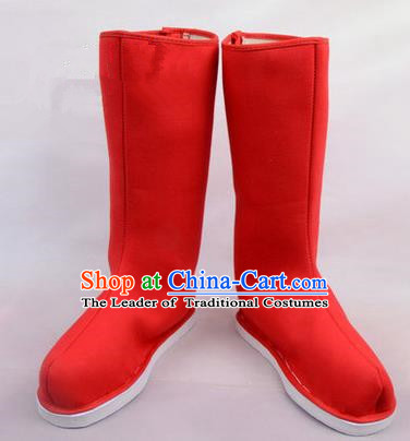 Chinese Ancient Peking Opera Officer Embroidered Court High Leg Boots, Traditional China Beijing Opera Red Cloth Shoes