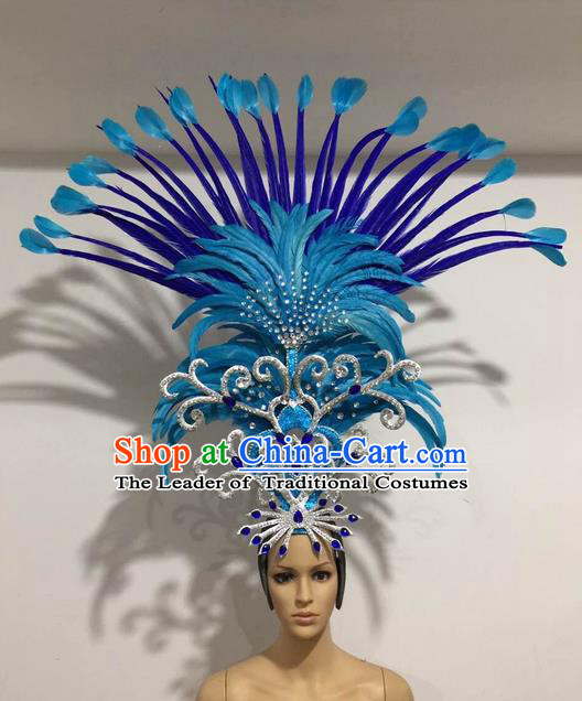 Top Grade Professional Stage Show Halloween Giant Headpiece Blue Feather Hat, Brazilian Rio Carnival Samba Opening Dance Imperial Empress Hair Accessories Headwear for Women