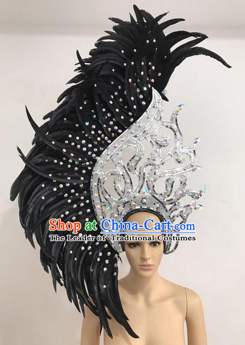 Top Grade Professional Stage Show Giant Headpiece Black Feather Hair Accessories Decorations, Brazilian Rio Carnival Samba Opening Dance Headwear for Women