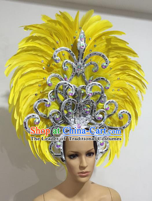 Top Grade Professional Stage Show Giant Headpiece Yellow Feather Hair Accessories Decorations, Brazilian Rio Carnival Samba Opening Dance Headwear for Women
