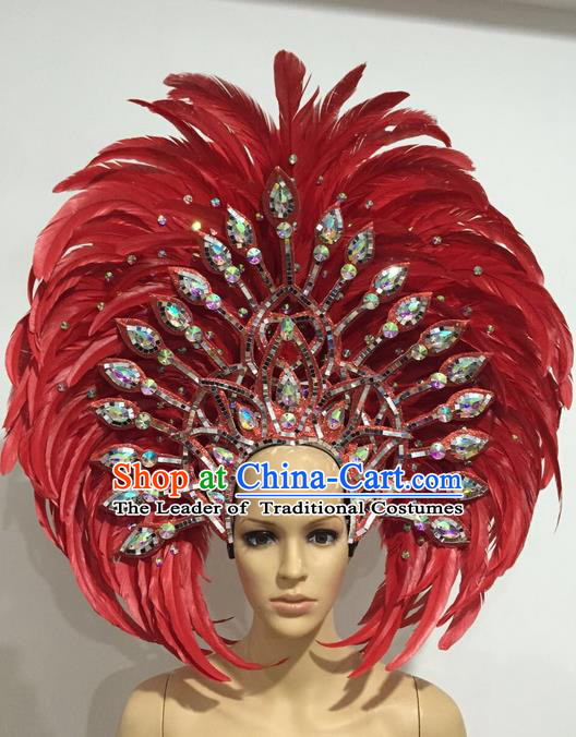 Top Grade Professional Stage Show Giant Headpiece Red Crystal Feather Hair Accessories Decorations, Brazilian Rio Carnival Samba Opening Dance Headwear for Women