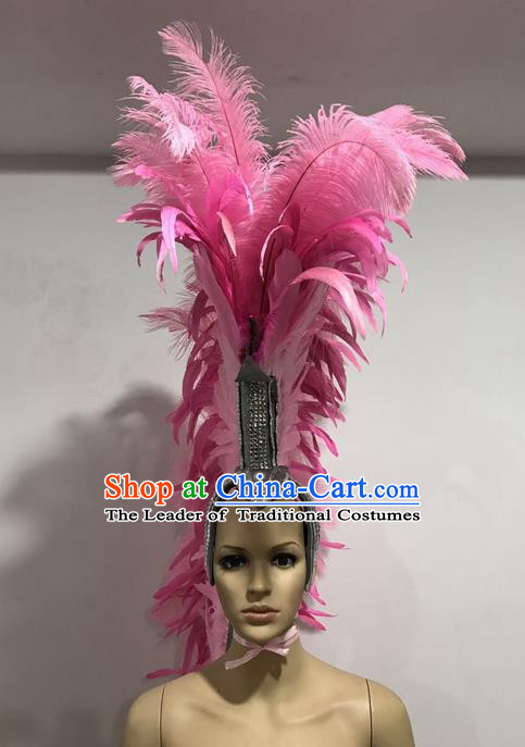 Top Grade Professional Stage Show Giant Headpiece Pink Feather Hair Accessories Decorations, Brazilian Rio Carnival Samba Opening Dance Soldier Helmet Headwear for Women