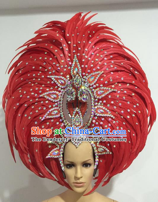 Top Grade Professional Stage Show Giant Headpiece Crystal Red Feather Hair Accessories Decorations, Brazilian Rio Carnival Samba Opening Dance Headwear for Women