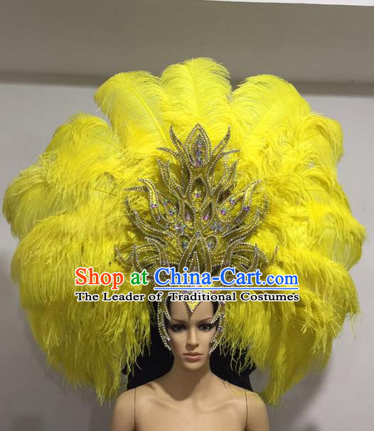 Top Grade Professional Stage Show Halloween Giant Headpiece Yellow Feather Hat, Brazilian Rio Carnival Samba Opening Dance Imperial Empress Hair Accessories Headwear for Women