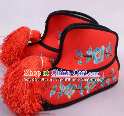 Traditional Chinese Ancient Peking Opera Martial Lady Embroidered Boots, China Beijing Opera Blues Red Embroidered Shoes
