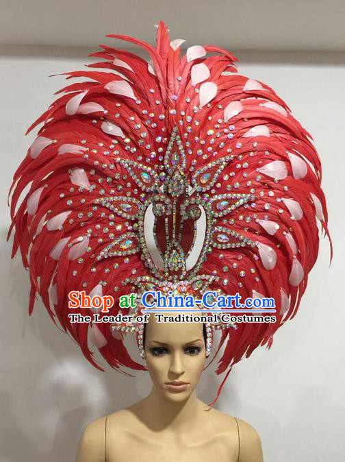 Top Grade Professional Stage Show Giant Headpiece Crystal Red and White Feather Hair Accessories Decorations, Brazilian Rio Carnival Samba Opening Dance Headwear for Women