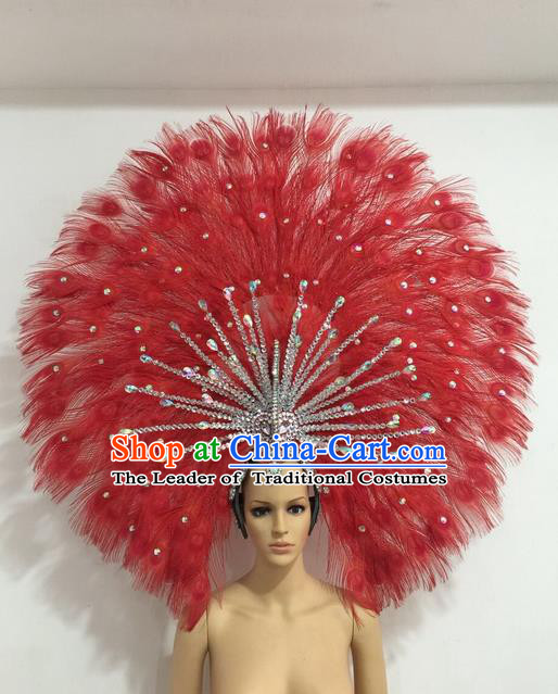 Top Grade Professional Stage Show Giant Headpiece Red Feather Big Hair Accessories Decorations, Brazilian Rio Carnival Samba Opening Dance Headwear for Women