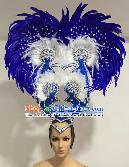 Top Grade Professional Stage Show Giant Headpiece Blue Feather Big Hair Accessories Decorations, Brazilian Rio Carnival Samba Opening Dance Headwear for Women