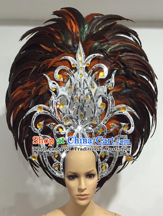 Top Grade Professional Stage Show Giant Headpiece Orange Feather Big Hair Accessories Decorations, Brazilian Rio Carnival Samba Opening Dance Headwear for Women