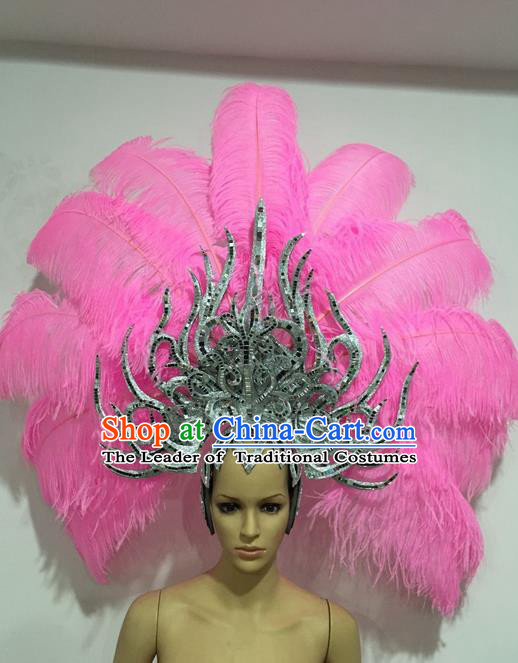 Top Grade Professional Stage Show Giant Headpiece Parade Giant Pink Feather Hair Accessories Decorations, Brazilian Rio Carnival Samba Opening Dance Headwear for Women
