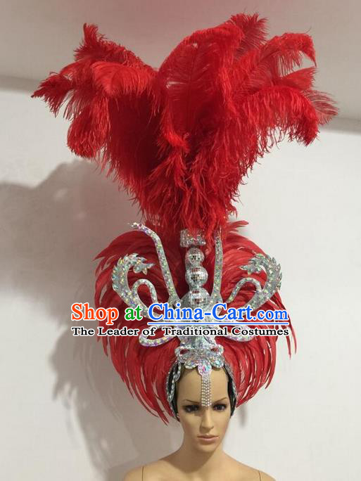 Top Grade Professional Stage Show Giant Headpiece Parade Giant Red Feather Hair Accessories Decorations, Brazilian Rio Carnival Samba Opening Dance Headwear for Women