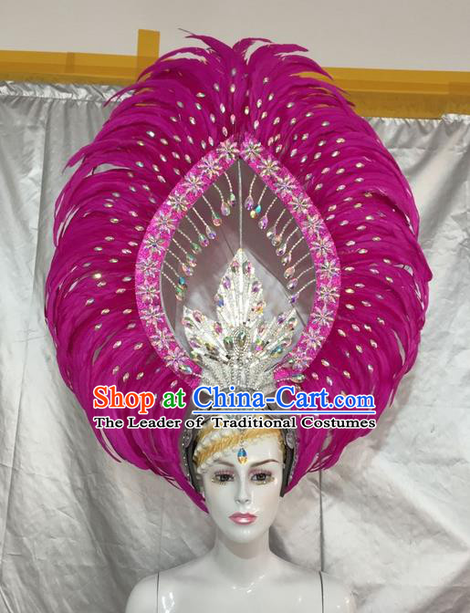 Top Grade Professional Stage Show Giant Headpiece Parade Giant Rosy Feather Crystal Hair Accessories Decorations, Brazilian Rio Carnival Samba Opening Dance Headwear for Women