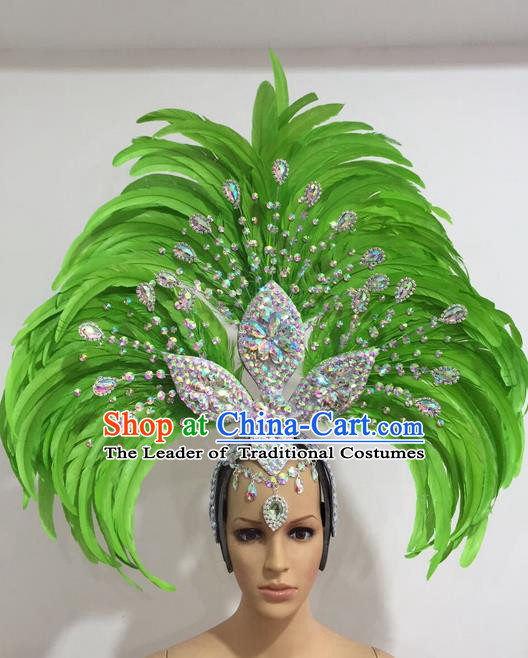 Top Grade Professional Stage Show Giant Headpiece Crystal Green Feather Hair Accessories Decorations, Brazilian Rio Carnival Samba Opening Dance Headwear for Women