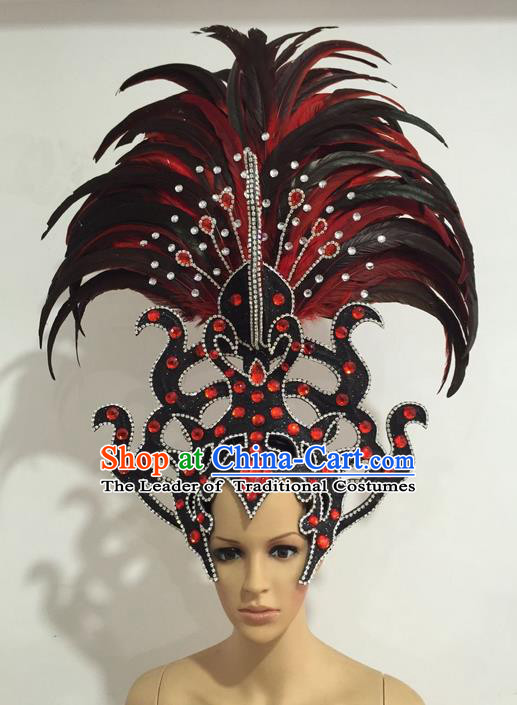 Top Grade Professional Stage Show Giant Headpiece Parade Giant Crystal Hair Accessories Feather Decorations, Brazilian Rio Carnival Samba Opening Dance Headwear for Women