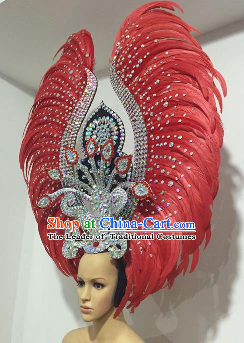 Top Grade Professional Stage Show Giant Headpiece Parade Giant Crystal Hair Accessories Red Feather Queen Decorations, Brazilian Rio Carnival Samba Opening Dance Headwear for Women
