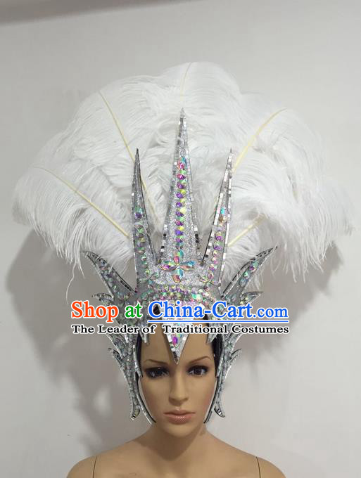 Top Grade Professional Stage Show Giant Headpiece Crystal White Royal Crown Feather Hair Accessories Decorations, Brazilian Rio Carnival Samba Opening Dance Headwear for Women