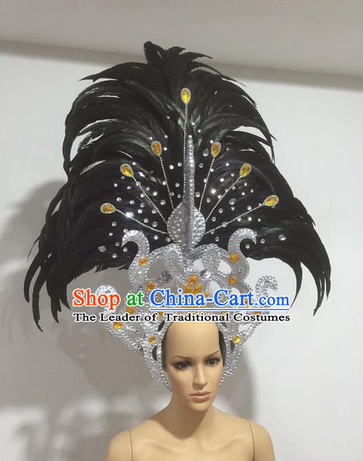 Top Grade Professional Stage Show Giant Headpiece Parade Giant Hair Accessories Black Feather Decorations, Brazilian Rio Carnival Samba Opening Dance Imperial Empress Headwear for Women