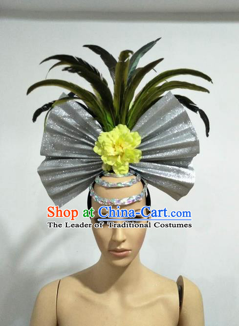 Top Grade Professional Stage Show Giant Headpiece Parade Giant Hair Accessories Feather Decorations, Brazilian Rio Carnival Samba Opening Dance Headwear for Women