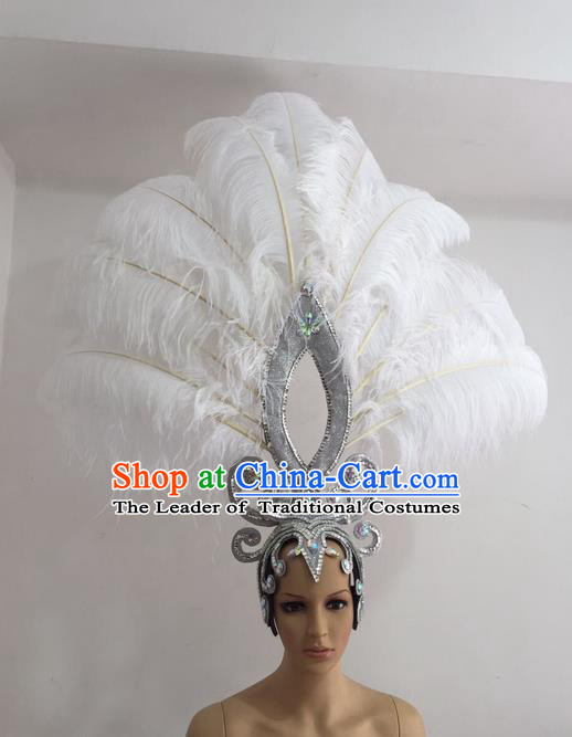 Top Grade Professional Stage Show Giant Headpiece Parade Giant Hair Accessories White Feather Decorations, Brazilian Rio Carnival Samba Opening Dance Imperial Empress Headwear for Women