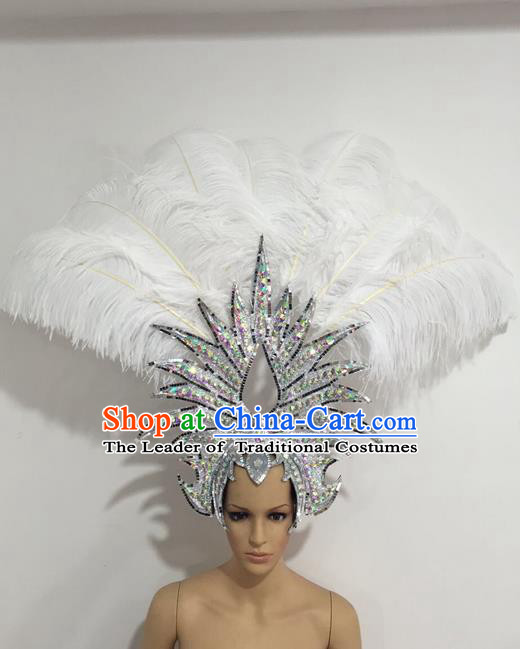 Top Grade Professional Stage Show Giant Headpiece Crystal White Feather Hair Accessories Decorations, Brazilian Rio Carnival Samba Opening Dance Headwear for Women