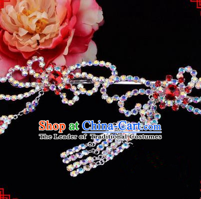 Chinese Ancient Peking Opera Hair Accessories Young Lady Diva Red Phoenix Tassel Hairpins, Traditional Chinese Beijing Opera Hua Tan Colorful Colorful Crystal Head Ornaments