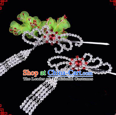 Chinese Ancient Peking Opera Hair Accessories Young Lady Diva Red Phoenix Tassel Hairpins, Traditional Chinese Beijing Opera Hua Tan Colorful Crystal Head Ornaments