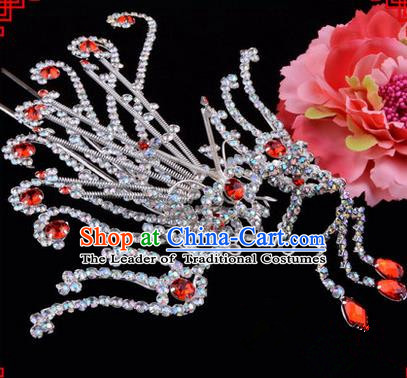 Chinese Ancient Peking Opera Hair Accessories Young Lady Diva Red Phoenix Hairpins, Traditional Chinese Beijing Opera Hua Tan Colorful Crystal Head Ornaments