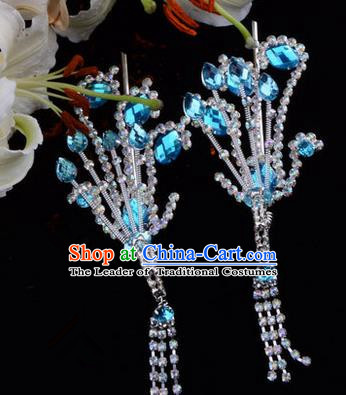 Chinese Ancient Peking Opera Hair Accessories Young Lady Diva Blue Tassel Phoenix Hairpins, Traditional Chinese Beijing Opera Hua Tan Colorful Crystal Head Ornaments