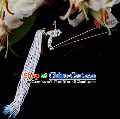 Chinese Ancient Peking Opera Hair Accessories Young Lady Diva Blue Long Tassel Phoenix Hairpins, Traditional Chinese Beijing Opera Hua Tan Colorful Crystal Head Ornaments
