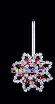 Chinese Ancient Peking Opera Hair Accessories Young Lady Diva Red Crystal Hairpins, Traditional Chinese Beijing Opera Hua Tan Head Ornaments