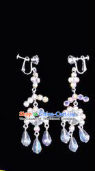 Chinese Ancient Peking Opera Head Accessories Young Lady Diva Colorful Crystal White Earring, Traditional Chinese Beijing Opera Hua Tan Eardrop