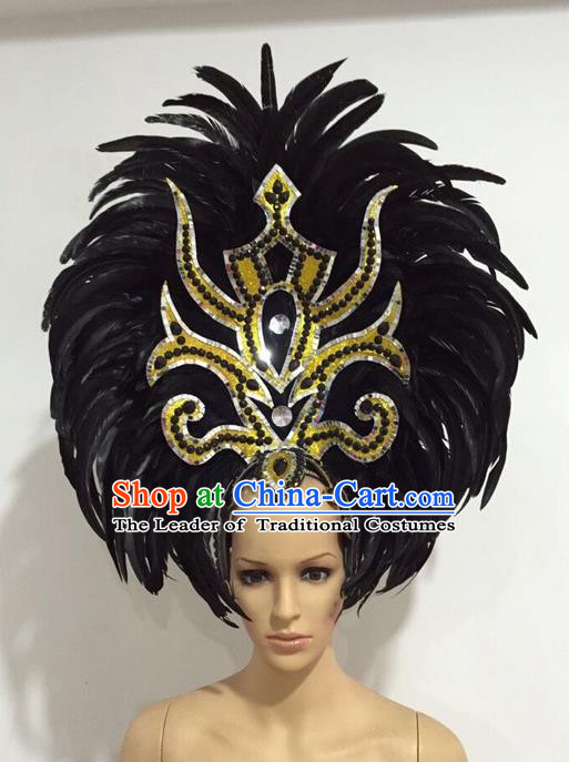 Top Grade Professional Stage Show Giant Headpiece Black Feather Big Hair Accessories Decorations, Brazilian Rio Carnival Samba Opening Dance Headwear for Women