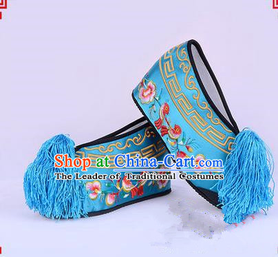 Chinese Ancient Peking Opera Young Lady Bride Embroidered Flowers Hua Tan Shoes, Traditional China Beijing Opera Princess Wedding Blue Embroidered Increase Shoes