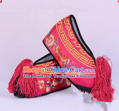Chinese Ancient Peking Opera Young Lady Bride Embroidered Flowers Hua Tan Shoes, Traditional China Beijing Opera Princess Wedding Rosy Embroidered Increase Shoes