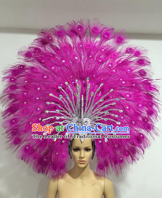 Top Grade Professional Stage Show Giant Headpiece Rosy Feather Big Hair Accessories Decorations, Brazilian Rio Carnival Samba Opening Dance Headwear for Women