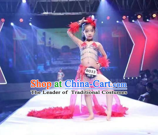 Top Grade Compere Professional Performance Catwalks Swimsuit Pink Costumes, Traditional Brazilian Rio Carnival Samba Opening Dance Suits Modern Fancywork Bikini Clothing for Kids