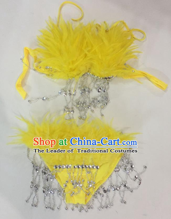 Top Grade Professional Performance Catwalks Swimsuit Costumes, Traditional Brazilian Rio Carnival Samba Suits Modern Fancywork Yellow Feather Bikini for Women