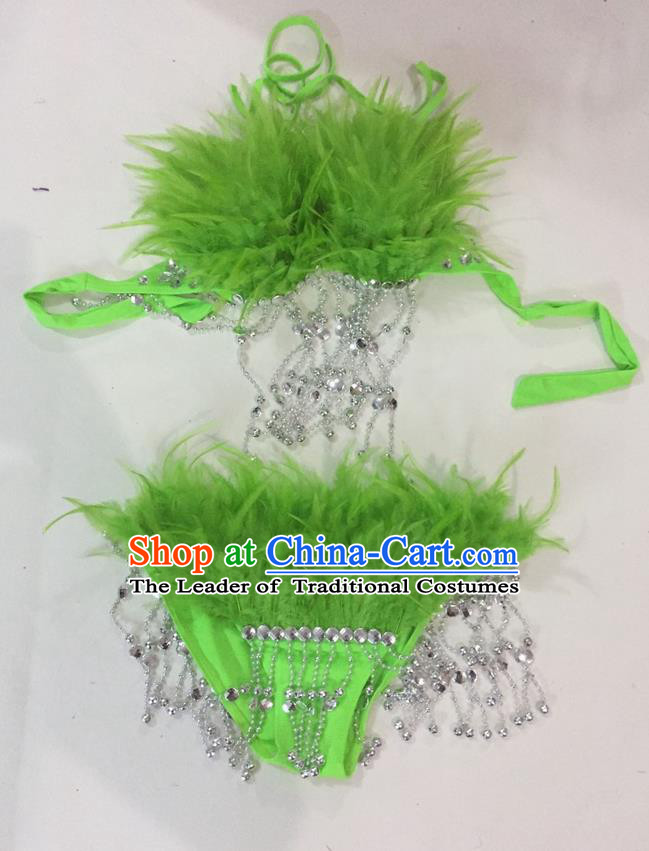 Top Grade Professional Performance Catwalks Swimsuit Costumes, Traditional Brazilian Rio Carnival Samba Suits Modern Fancywork Green Feather Bikini for Women