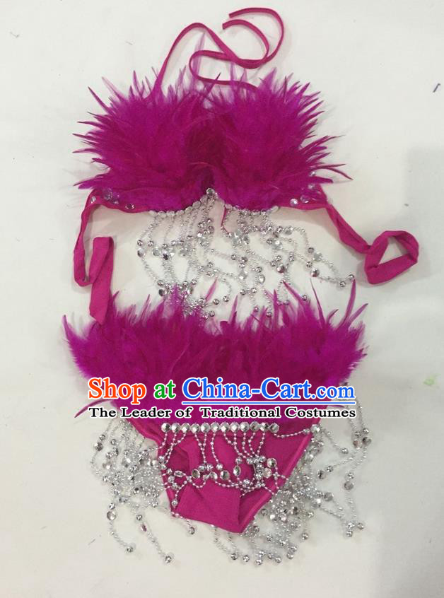 Top Grade Professional Performance Catwalks Swimsuit Costumes, Traditional Brazilian Rio Carnival Samba Suits Modern Fancywork Purple Feather Bikini for Women