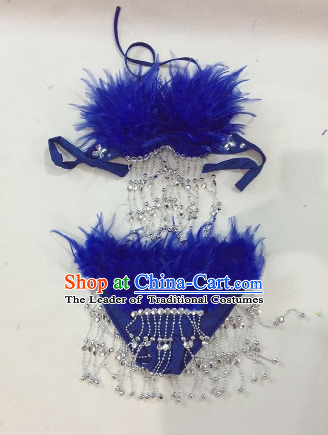 Top Grade Professional Performance Catwalks Swimsuit Costumes, Traditional Brazilian Rio Carnival Samba Suits Modern Fancywork Royalblue Feather Bikini for Women