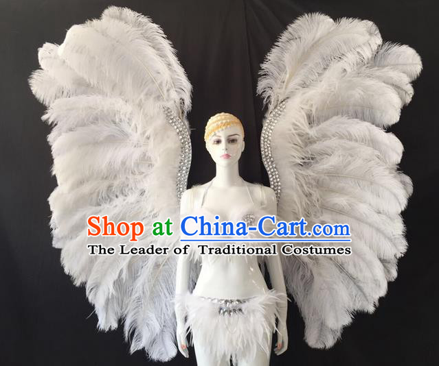 Top Grade Professional Performance Catwalks Swimsuit Costumes and Wings, Traditional Brazilian Rio Carnival Samba Suits Modern Fancywork Feather Bikini for Women