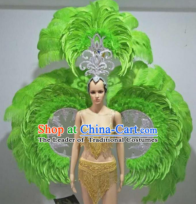Top Grade Professional Performance Catwalks Swimsuit Costumes with Wings Headpiece, Traditional Brazilian Rio Carnival Samba Suits Modern Fancywork Green Feather Bikini for Women