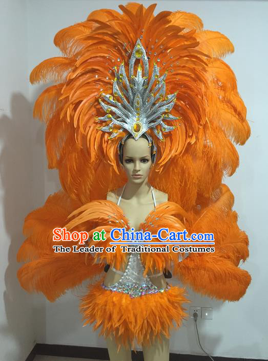 Top Grade Professional Performance Catwalks Swimsuit Costumes with Wings, Traditional Brazilian Rio Carnival Samba Suits Modern Fancywork Orange Feather Bikini Clothing for Women