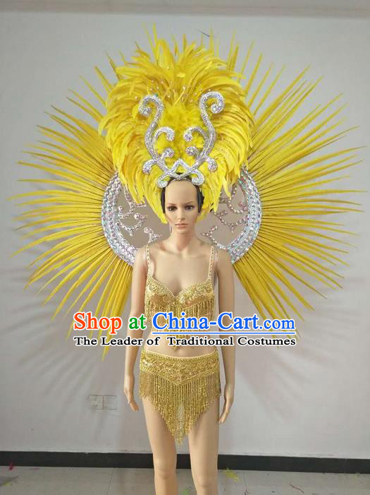 Top Grade Professional Performance Catwalks Swimsuit Costumes and Headpiece, Traditional Brazilian Rio Carnival Samba Suits Modern Fancywork Yellow Feather Bikini Clothing for Women