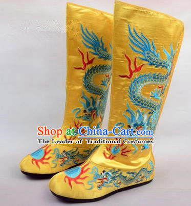 Chinese Ancient Peking Opera King Embroidered Dragon High Leg Boots, Traditional China Beijing Opera Emperor Yellow Embroidered Steller Shoes