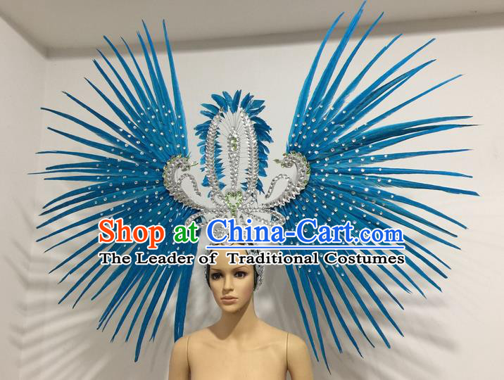 Top Grade Professional Stage Show Giant Headpiece Parade Hair Accessories Decorations, Brazilian Rio Carnival Samba Opening Dance Blue Feather Headdress for Women