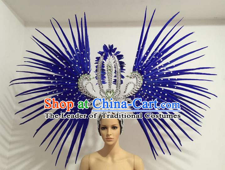 Top Grade Professional Stage Show Giant Headpiece Parade Hair Accessories Decorations, Brazilian Rio Carnival Samba Opening Dance Royalblue Feather Headdress for Women