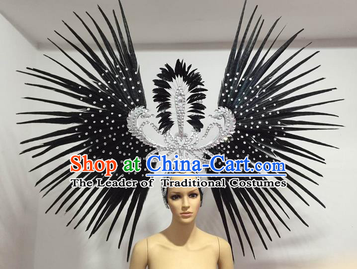 Top Grade Professional Stage Show Giant Headpiece Parade Hair Accessories Decorations, Brazilian Rio Carnival Samba Opening Dance Black Feather Headdress for Women