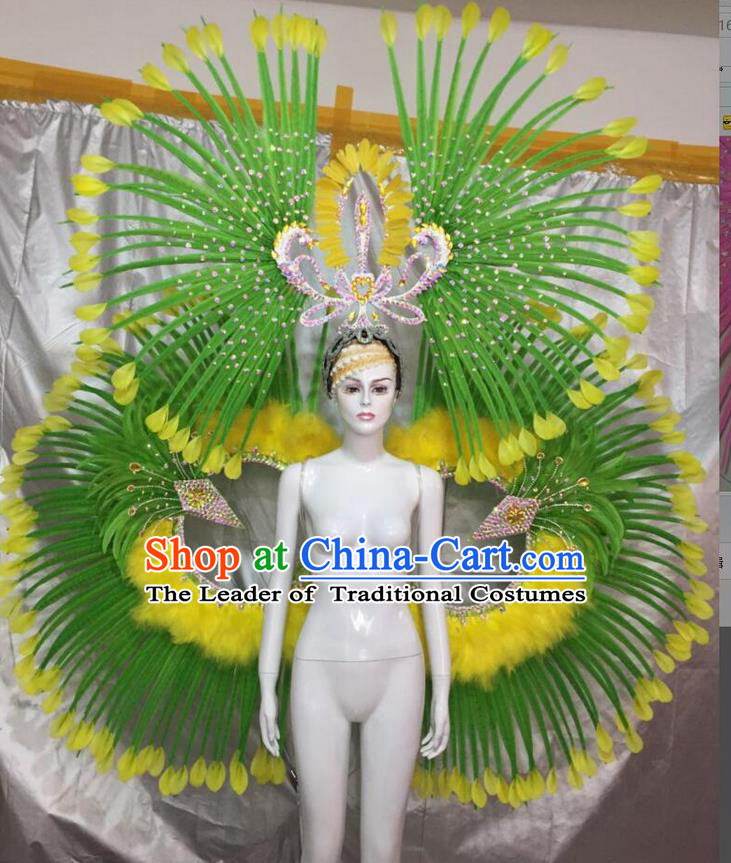 Top Grade Professional Performance Catwalks Green Feather Props and Headpiece, Traditional Brazilian Rio Carnival Samba Opening Dance Modern Fancywork Backboard for Women